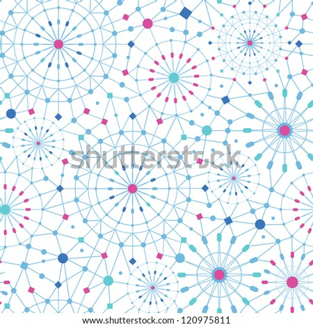 Vector blue abstract line art circles seamless pattern background with hand drawn elements. - stock vector