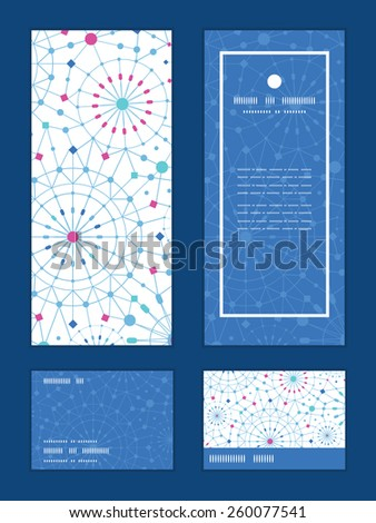 Vector blue abstract line art circles vertical frame pattern invitation greeting, RSVP and thank you cards set - stock vector