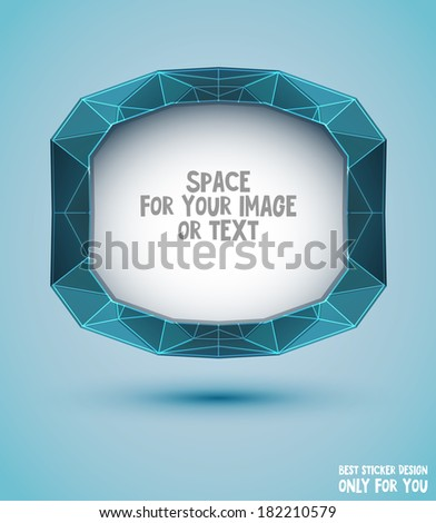 Vector blue abstract sticker for design. Triangle style - stock vector