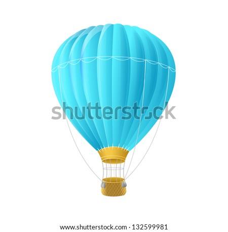 Vector blue air ballon isolated on white - stock vector