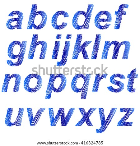 Vector Blue Alphabet Isolated on White Background. Set of Blue Letters. Scribble Alphabet - stock vector