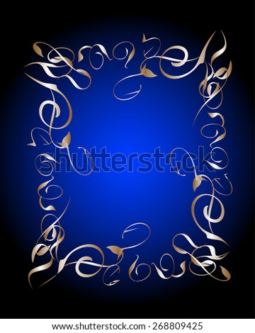 vector blue and gold luxury background, vector decorative elements, calligraphic design elements and page decoration, vector vintage frame collection - stock vector
