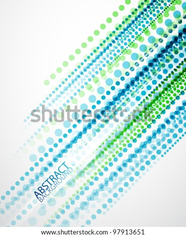 Vector blue and green dotted straight lines background - stock vector