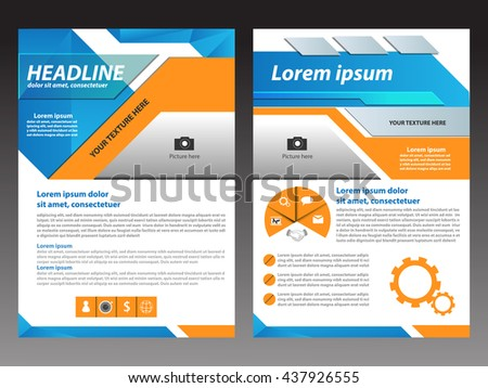 Vector blue and orange Brochure Flyer design Layout template, Front page and back page, Easy to use and edit.