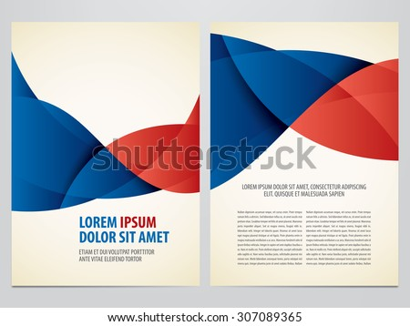 Vector blue and red business brochure, flyer template. Modern corporate design. - stock vector
