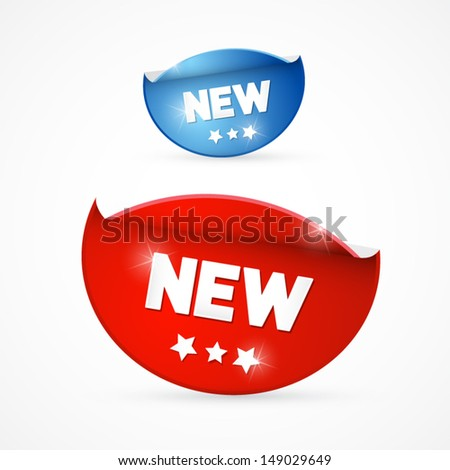 Vector Blue and Red Stickers With New Title - stock vector