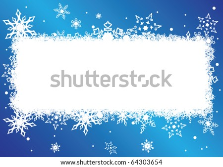 vector blue and white card with snowflakes
