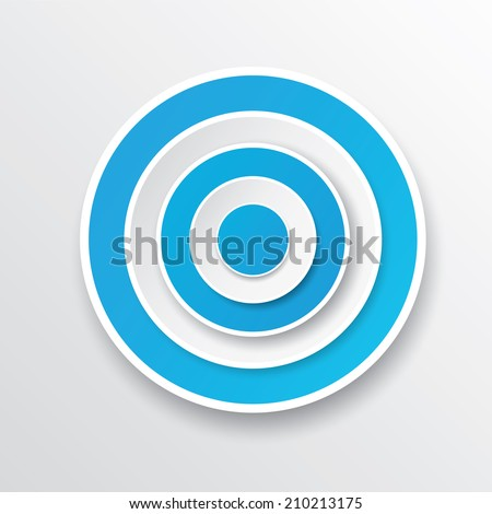 vector blue and white target icon. vector glossy target symbol design element - stock vector