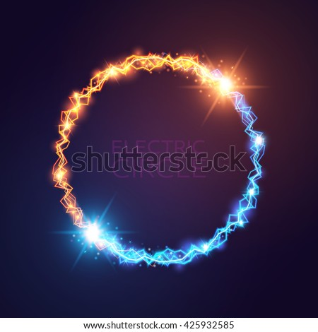 Vector blue and yellow electric circles. Magic effect illustration. Bright light bolts and stars on dark background