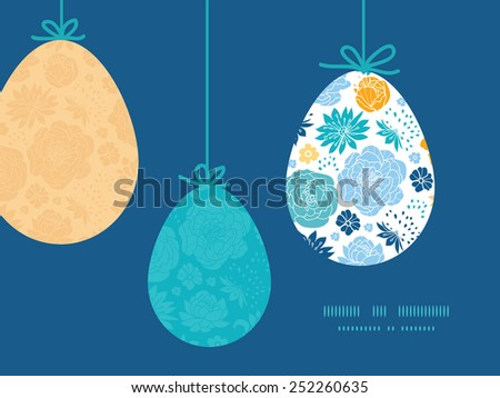 Vector blue and yellow flowersilhouettes hanging Easter eggs ornaments sillhouettes frame card template - stock vector