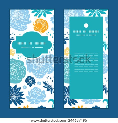 Vector blue and yellow flowersilhouettes vertical frame pattern invitation greeting cards set - stock vector