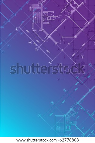 Vector blue architectural background with plans of buildings in vertical format (see jpg version in my portfolio) - stock vector