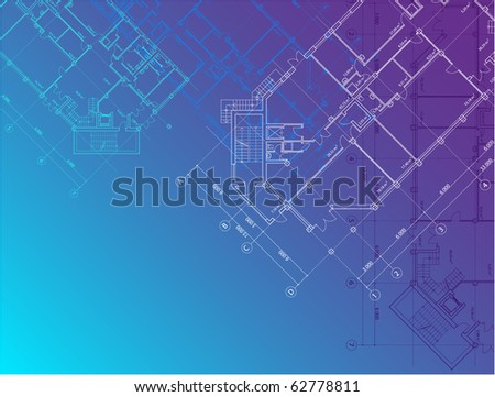 Vector blue architectural background with plans of buildings on the horizontal format (see jpg version in my portfolio) - stock vector