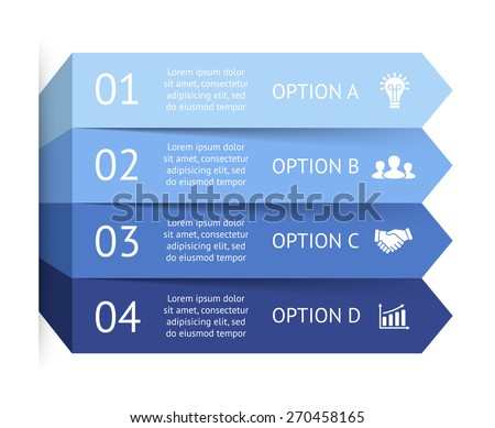Vector blue arrows infographic. Template for diagram, graph, presentation and chart. Business concept with 4 options, parts, steps or processes. Abstract background. - stock vector