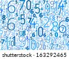 Vector blue background from different numbers typography on white - stock photo