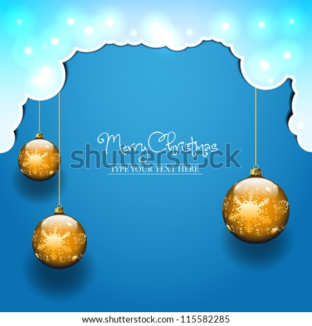 Vector blue background with clouds and three golden christmas balls - stock vector