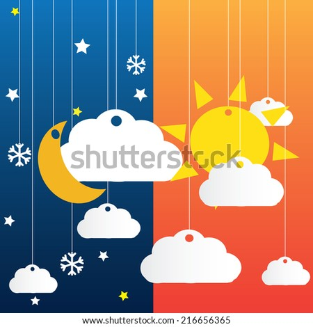 Vector blue background with hanging clouds, moon, sun , stars and snowflakes/ christmas card - stock vector