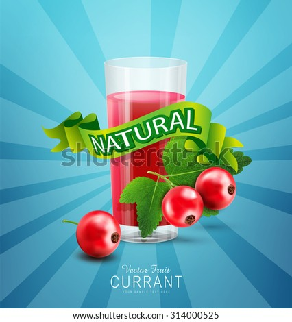 Vector blue background with red currants, fresh juice of red currants and green ribbon - stock vector