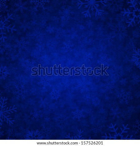 vector blue background with snowflakes - stock vector