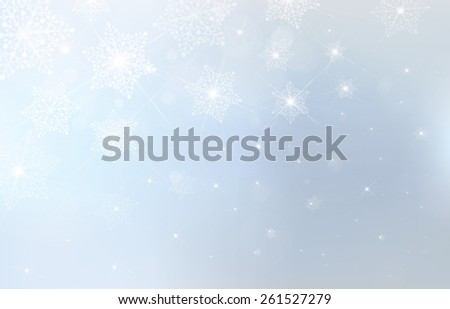 Vector blue background with snowflakes, stars and lights. - stock vector