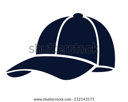 vector blue Baseball cap on white background - stock vector