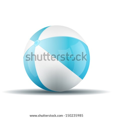Vector blue beach ball isolated on a white background. Fitness symbol - stock vector