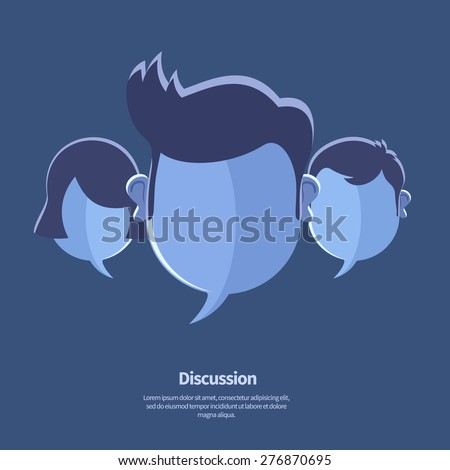 Vector blue blank speech bubbles and head shapes. May use as chat  icon, debate or discussion icon, community banner template. - stock vector