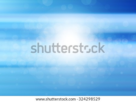 Vector blue blurred circle abstract background with bokeh light circles. It looks like blue sky. - stock vector