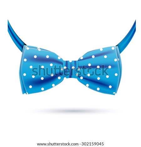 Vector blue bow tie icon in polka dot isolated on white background. Hipster style - stock vector