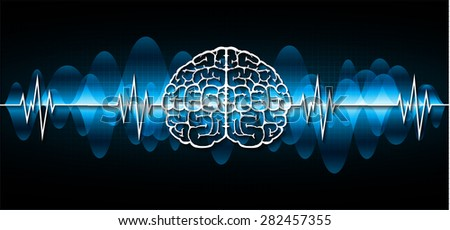 vector blue brain processes technology, creative idea concept. wave. ecg, ekg, electrocardiogram. - stock vector