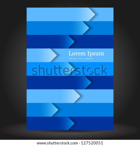 Vector blue brochure cover design with arrows. EPS 10 - stock vector