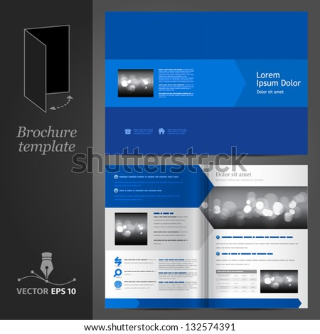 Vector blue brochure template design. EPS 10 - stock vector