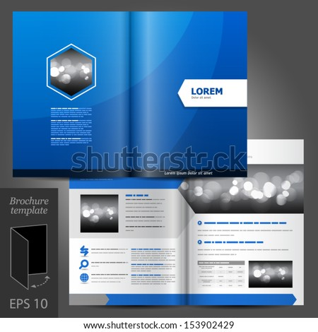 Vector blue brochure template design with white arrow. EPS 10 - stock vector