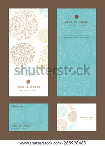 Vector blue brown abstract seaweed texture vertical frame pattern invitation greeting, RSVP and thank you cards set - stock vector
