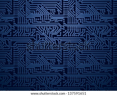 Vector blue circuit board background - stock vector