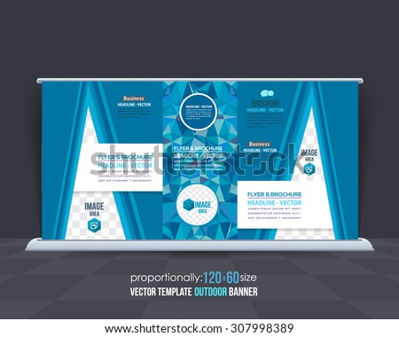 Vector Blue Colors Geometric Elements Outdoor Advertising Design, Horizontal Banner, Background Template  - stock vector
