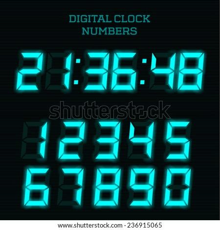 Vector blue digital clock numbers. - stock vector