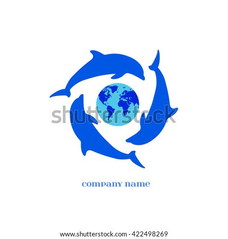 Vector Blue Dolphins Silhouettes around Earth over white. Elements for oceanarium, aquarium, logo, and other your eco designs. Dolphin Icon.