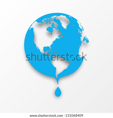 Vector blue earth globe with drop of water. Eco concept. - stock vector