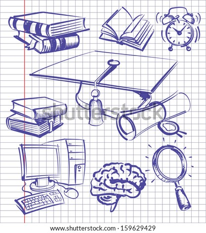 vector blue education and school set on paper - stock vector