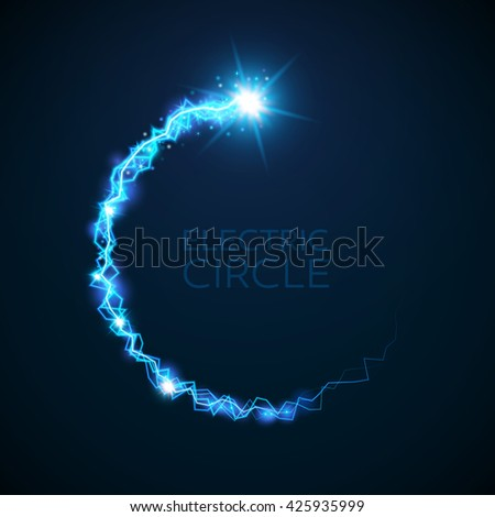 Vector blue electric circle. Magic effect illustration. Bright light bolts and stars on dark background - stock vector