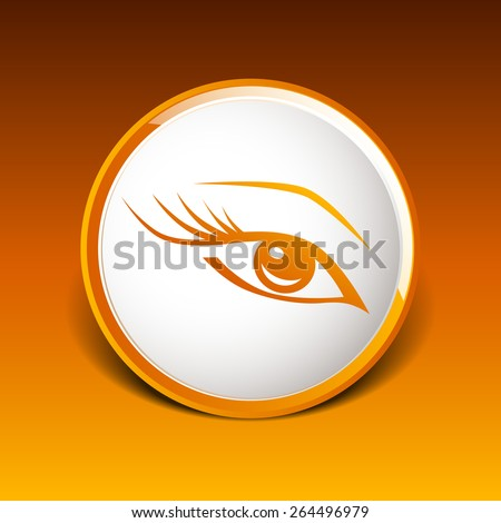 vector blue eye with long lashes  woman makeup beauty symbol. - stock vector