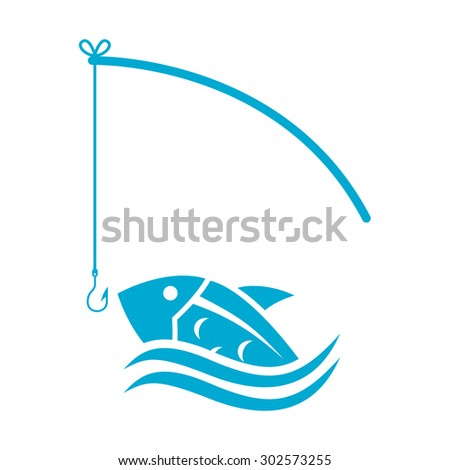 Vector blue fish and fishing rod