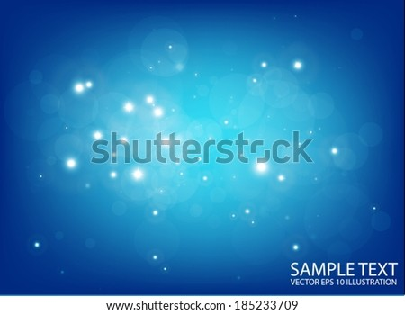 Vector blue flares in space design template - Shiny blue glittering design background  illustration