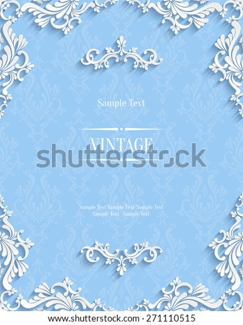 Vector Blue Floral 3d Background. Template for Christmas and Invitation Cards  - stock vector