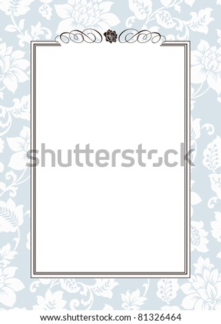 Vector Blue Floral Pattern and Ornament Frame. Easy to edit. Perfect for invitations or announcements. - stock vector