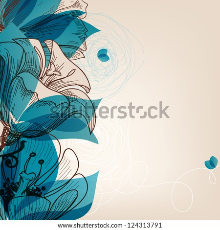 Vector blue flower background - stock vector