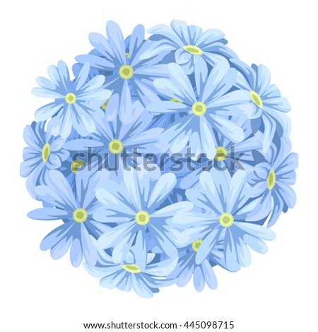 Vector blue flowers ball bouquet isolated on a white background.