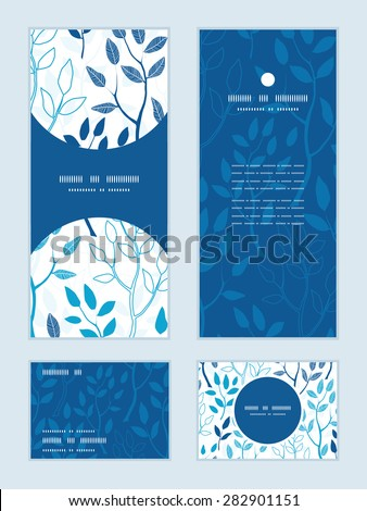Vector blue forest vertical frame pattern invitation greeting, RSVP and thank you cards set - stock vector
