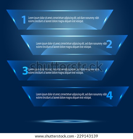 Vector blue glass banners. Vector illustration. - stock vector